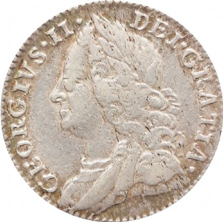 George II Silver Sixpence 1757 or 1758
